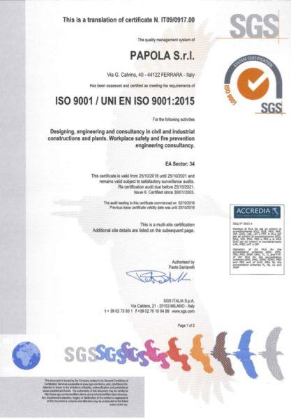 Certificato ISO9001-2015 - SEDE - EN