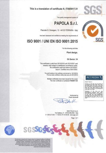 Certificato ISO9001-2015 - Succ P.le Donegani - EN