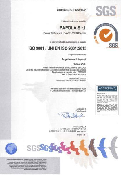 Certificato ISO9001-2015 - Succ P.le Donegani - IT